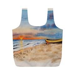 Sunset Beach Watercolor Reusable Bag (M)