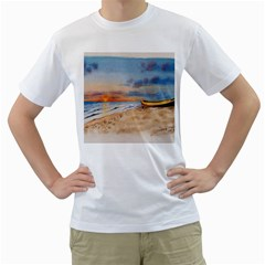 Sunset Beach Watercolor Men s T-Shirt (White)