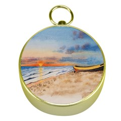 Sunset Beach Watercolor Gold Compass