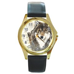 Hunter Round Leather Watch (Gold Rim)