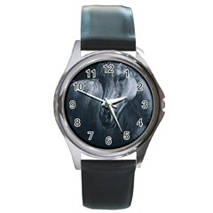 Equine Grace  Round Leather Watch (silver Rim)