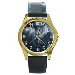 Equine Grace  Round Leather Watch (Gold Rim)
