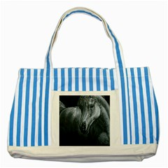 Equine Grace  Blue Striped Tote Bag