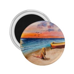 Alone On Sunset Beach 2.25  Button Magnet