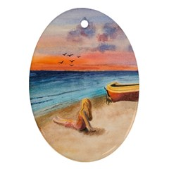 Alone On Sunset Beach Oval Ornament