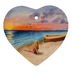 Alone On Sunset Beach Heart Ornament