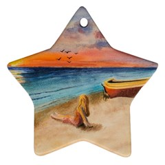 Alone On Sunset Beach Star Ornament