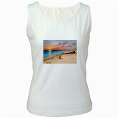 Alone On Sunset Beach Women s Tank Top (White)