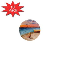 Alone On Sunset Beach 1  Mini Button (10 pack)