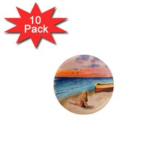Alone On Sunset Beach 1  Mini Button Magnet (10 pack)