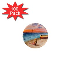 Alone On Sunset Beach 1  Mini Button Magnet (100 Pack)