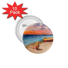 Alone On Sunset Beach 1.75  Button (10 pack)