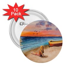 Alone On Sunset Beach 2.25  Button (10 pack)
