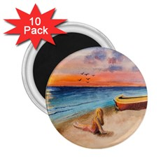 Alone On Sunset Beach 2.25  Button Magnet (10 pack)