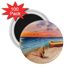 Alone On Sunset Beach 2.25  Button Magnet (100 pack)