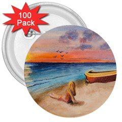 Alone On Sunset Beach 3  Button (100 pack)