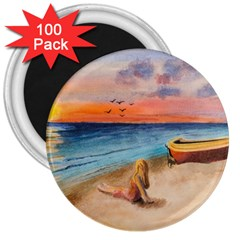 Alone On Sunset Beach 3  Button Magnet (100 pack)