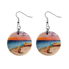 Alone On Sunset Beach Mini Button Earrings
