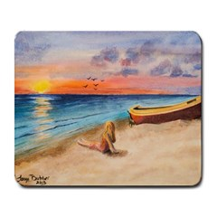 Alone On Sunset Beach Large Mouse Pad (Rectangle)