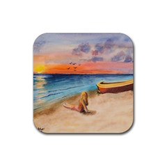 Alone On Sunset Beach Drink Coasters 4 Pack (square)