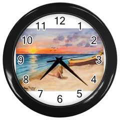 Alone On Sunset Beach Wall Clock (black)