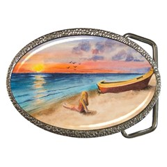 Alone On Sunset Beach Belt Buckle (Oval)