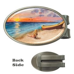 Alone On Sunset Beach Money Clip (Oval)
