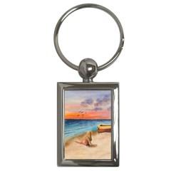 Alone On Sunset Beach Key Chain (rectangle)