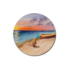 Alone On Sunset Beach Drink Coaster (round)