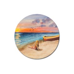 Alone On Sunset Beach Magnet 3  (round)