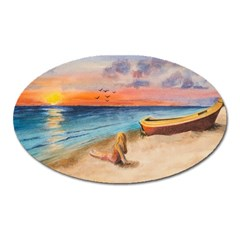 Alone On Sunset Beach Magnet (Oval)