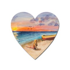Alone On Sunset Beach Magnet (Heart)