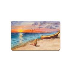 Alone On Sunset Beach Magnet (Name Card)