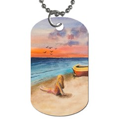 Alone On Sunset Beach Dog Tag (two Sided)