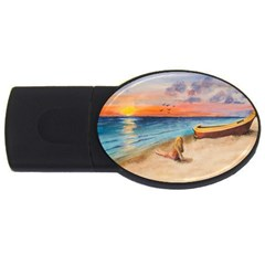 Alone On Sunset Beach 2gb Usb Flash Drive (oval)