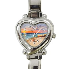 Alone On Sunset Beach Heart Italian Charm Watch