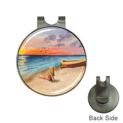 Alone On Sunset Beach Hat Clip with Golf Ball Marker