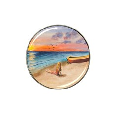 Alone On Sunset Beach Golf Ball Marker (for Hat Clip)