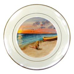 Alone On Sunset Beach Porcelain Display Plate