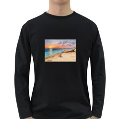 Alone On Sunset Beach Men s Long Sleeve T-shirt (Dark Colored)