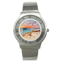 Alone On Sunset Beach Stainless Steel Watch (Slim)