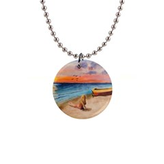 Alone On Sunset Beach Button Necklace