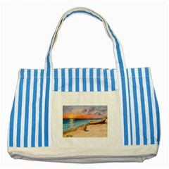 Alone On Sunset Beach Blue Striped Tote Bag