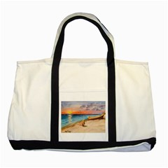 Alone On Sunset Beach Two Toned Tote Bag