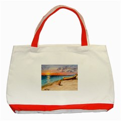 Alone On Sunset Beach Classic Tote Bag (Red)