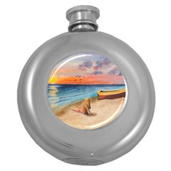 Alone On Sunset Beach Hip Flask (Round)
