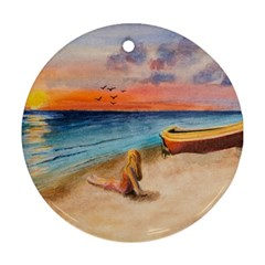 Alone On Sunset Beach Round Ornament (two Sides)