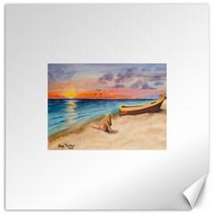Alone On Sunset Beach Canvas 12  x 12  (Unframed)