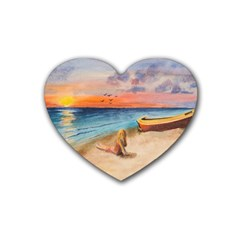 Alone On Sunset Beach Drink Coasters 4 Pack (Heart)