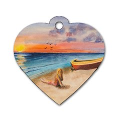 Alone On Sunset Beach Dog Tag Heart (two Sided)